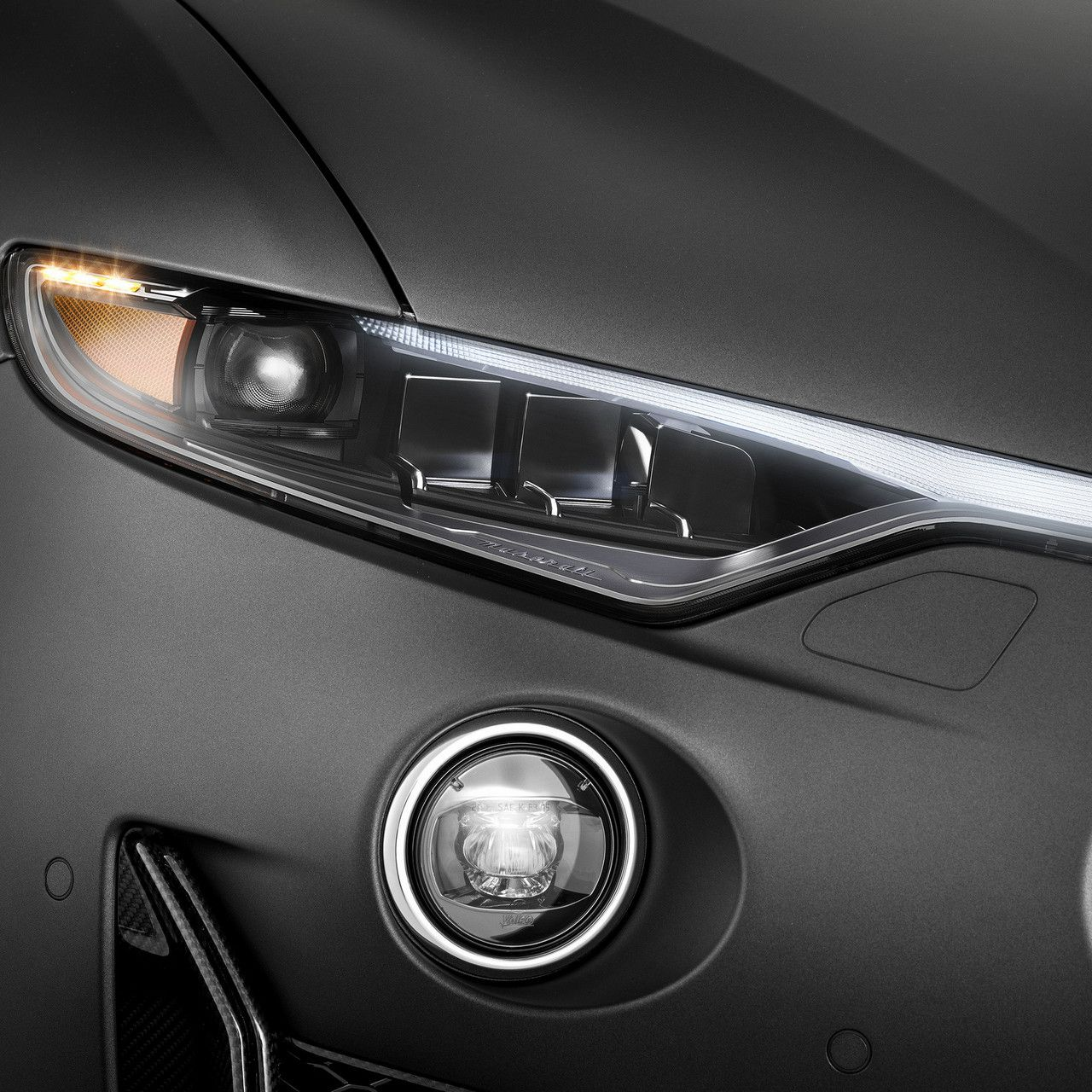 Full-led headlights in detail for Maserati Levante