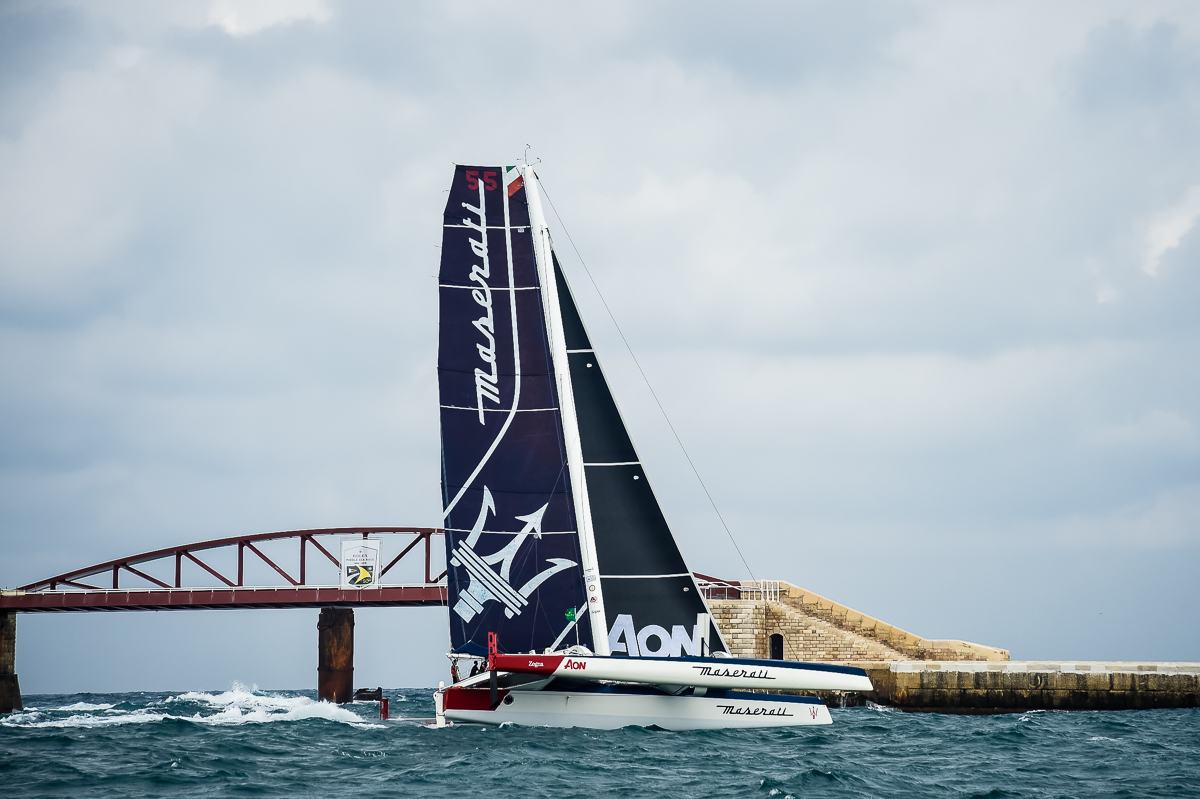 Maserati Multi 70 sailing the coast for the 39th Rolex Middle Sea Race