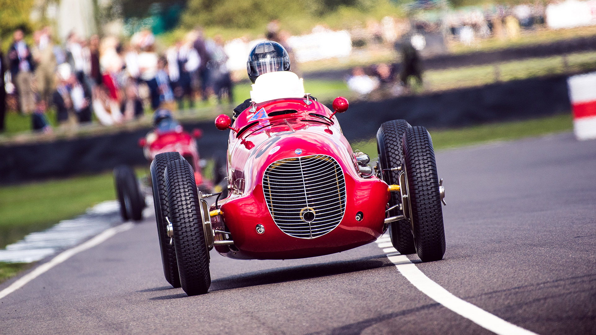 The 1936 Maserati 6CM single-seater racing car competing on the Goodwood circuit